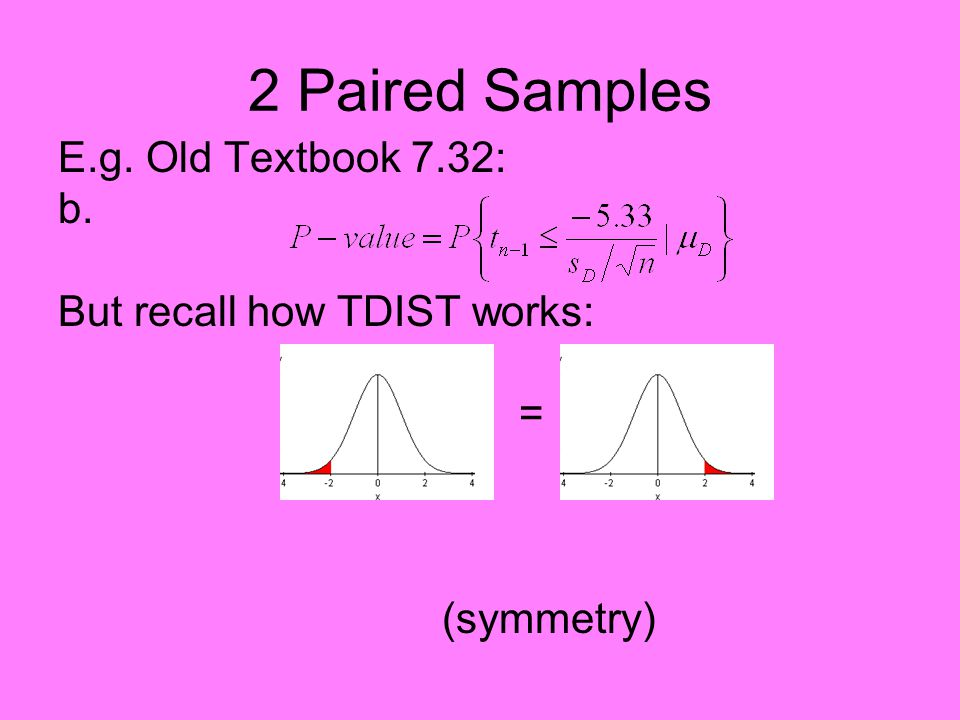 2 Paired Samples E.g. Old Textbook 7.32: b. But recall how TDIST works: = So compute with: