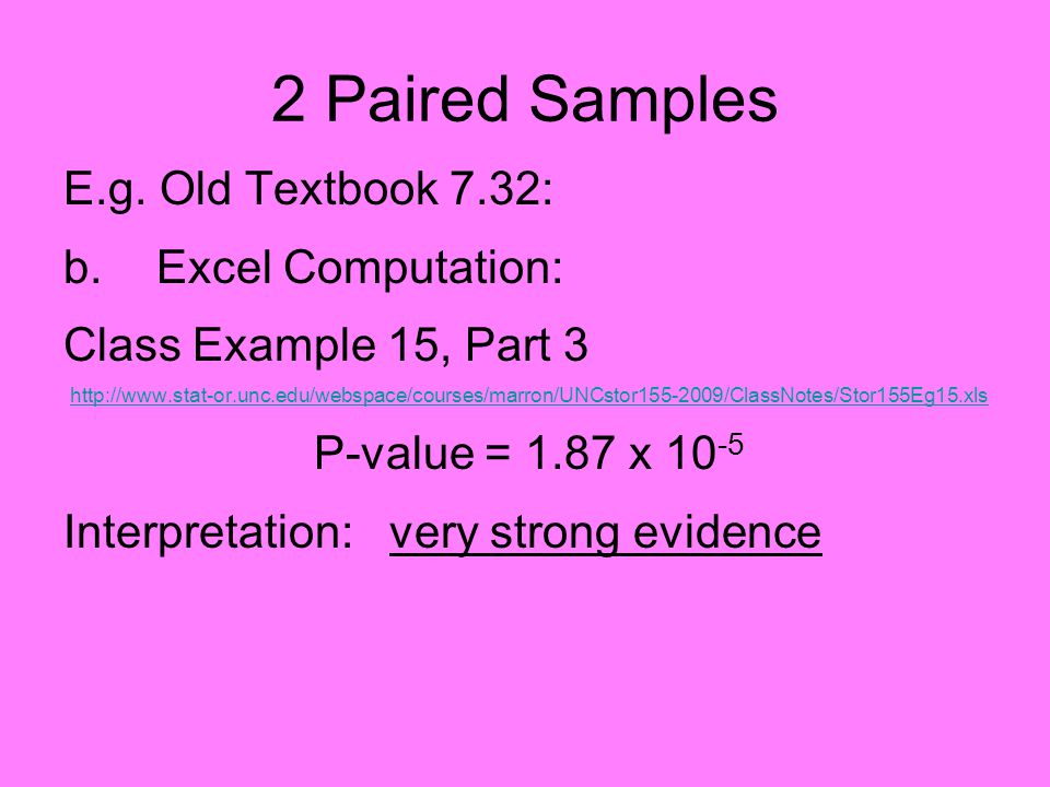 2 Paired Samples E.g.