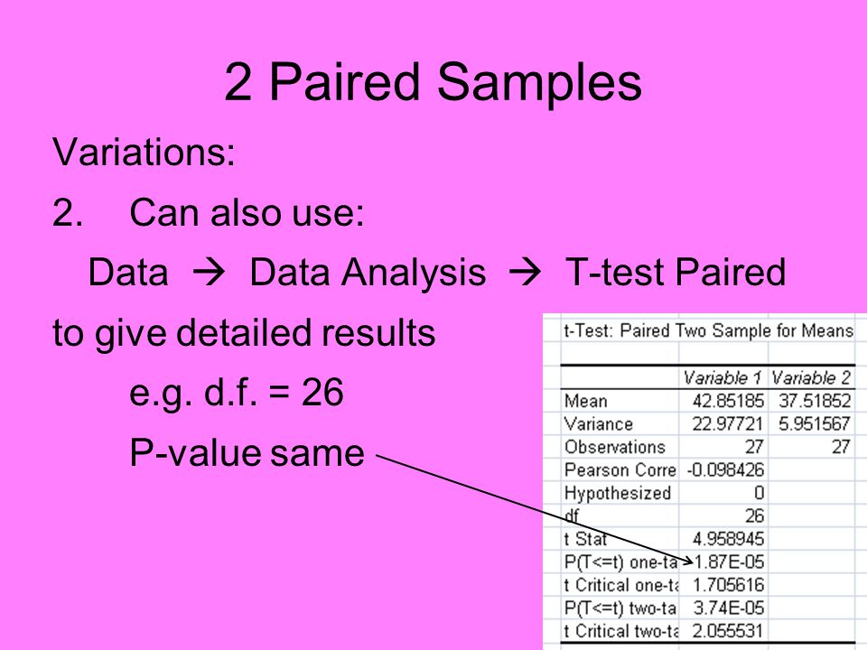 2 Paired Samples Variations: 2.Can also use: Data  Data Analysis  T-test Paired to give detailed results e.g.