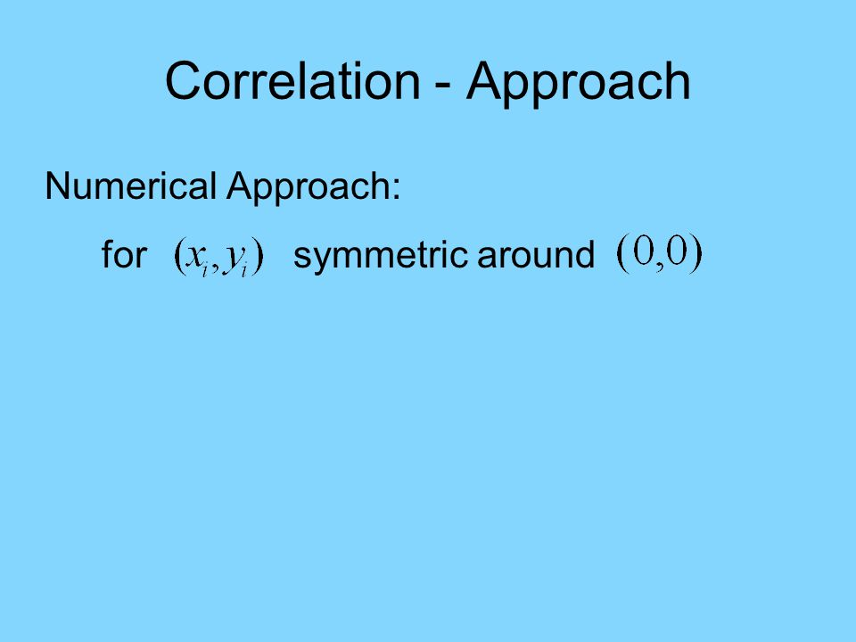 Correlation - Approach Numerical Approach: for symmetric around has similar properties