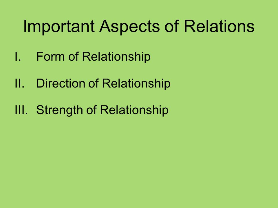 Important Aspects of Relations I.Form of Relationship II.Direction of Relationship III.Strength of Relationship