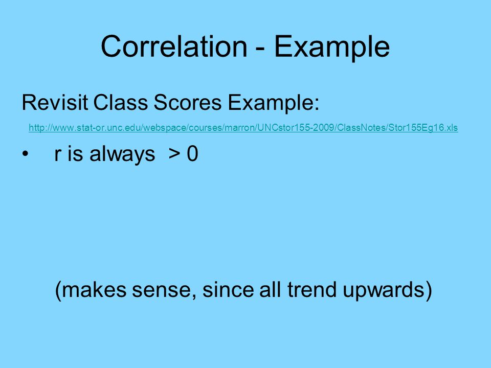 Correlation - Example Revisit Class Scores Example: http://www.stat-or.unc.edu/webspace/courses/marron/UNCstor155-2009/ClassNotes/Stor155Eg16.xls r is always > 0 (makes sense, since all trend upwards)