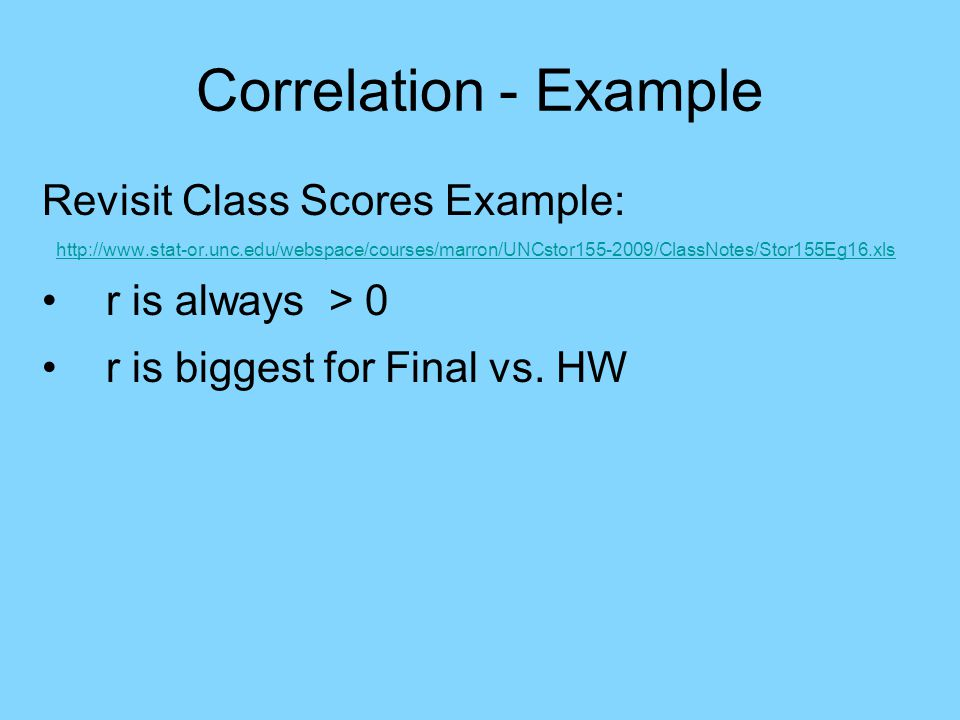 Correlation - Example Revisit Class Scores Example: http://www.stat-or.unc.edu/webspace/courses/marron/UNCstor155-2009/ClassNotes/Stor155Eg16.xls r is always > 0 r is biggest for Final vs.