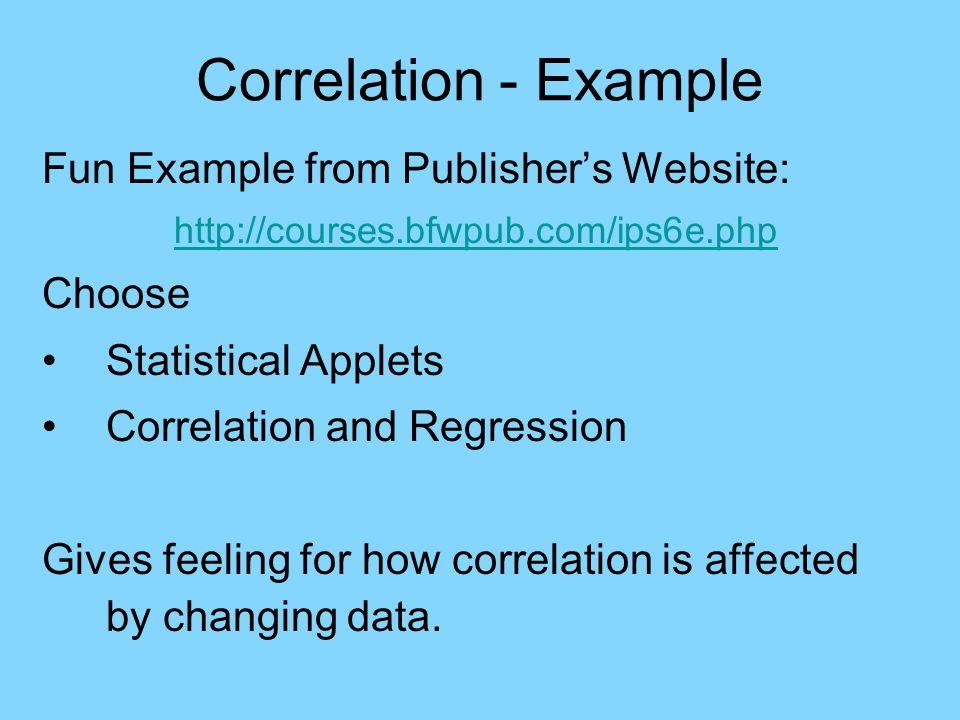 Correlation - Example Correlation and Regression Applet
