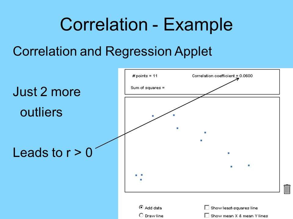 Correlation - Example Correlation and Regression Applet Just 2 more outliers Leads to r > 0 (Outliers have major impact)