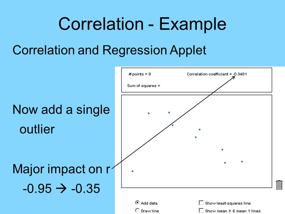 Correlation - Example Correlation and Regression Applet Now add a single outlier Major impact on r -0.95  -0.35