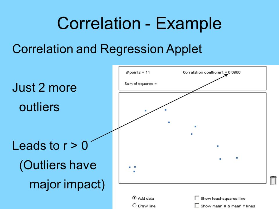Correlation - Outliers Caution: Outliers can strongly affect correlation, r HW: 2.39b 2.45