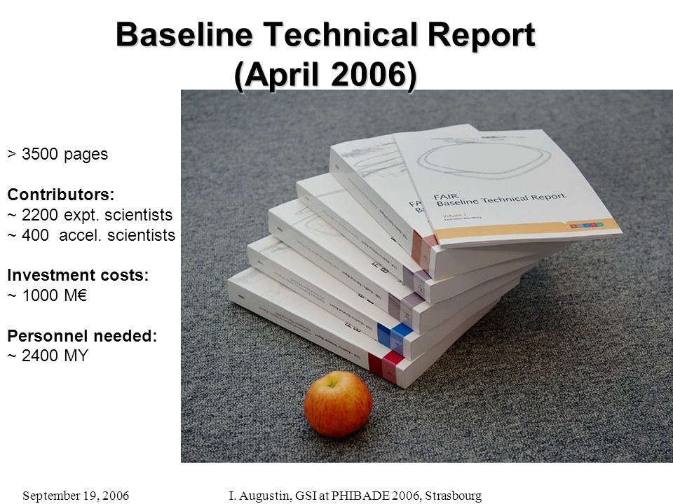 September 19, 2006I. Augustin, GSI at PHIBADE 2006, Strasbourg Baseline Technical Report (April 2006) > 3500 pages Contributors: ~ 2200 expt. scientis