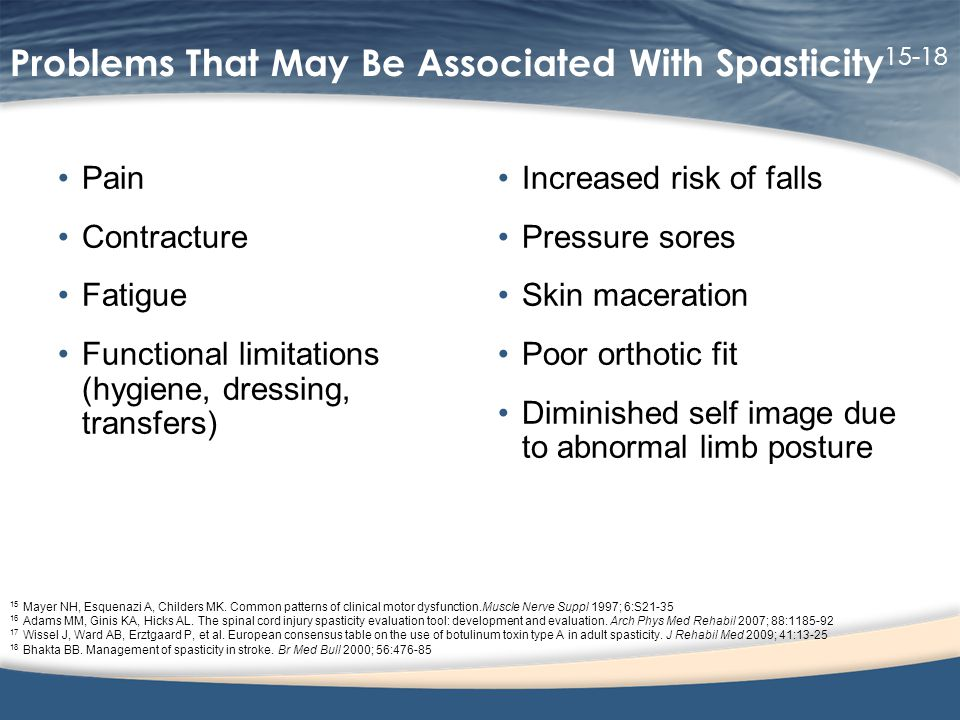 Problems That May Be Associated With Spasticity 15-18 Pain Contracture Fatigue Functional limitations (hygiene, dressing, transfers) Increased risk of falls Pressure sores Skin maceration Poor orthotic fit Diminished self image due to abnormal limb posture 15 Mayer NH, Esquenazi A, Childers MK.