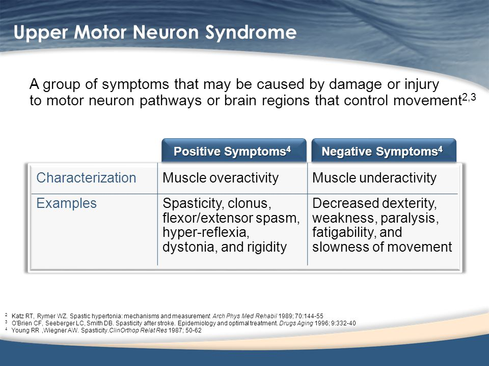 Upper Motor Neuron Syndrome A group of symptoms that may be caused by damage or injury to motor neuron pathways or brain regions that control movement
