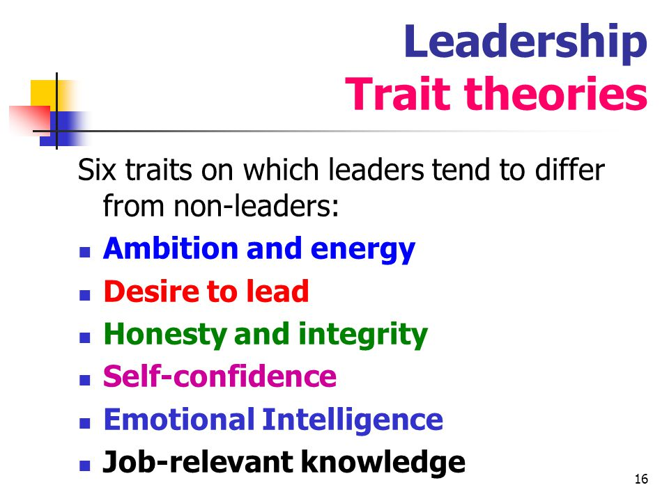 17 Trait approach….personal qualities or characteristics ….self-evidently a factor to some extent but : the search for what leaders had in common only managed to establish the range of variation possible in leaders, from the short balding French Emperor to the handsome gay Macedonian one .