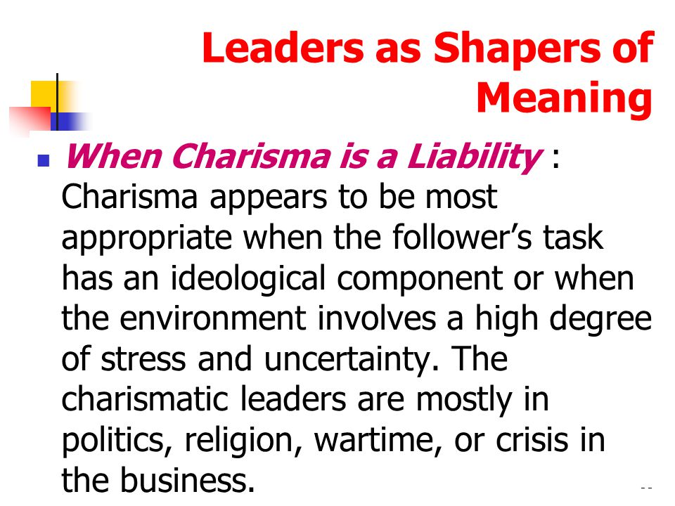 54 Transactional and Transformational Leadership Transactional leaders : who guide or motivate their followers in the direction of established goals by clarifying role and task requirements Transformational leaders : who inspire followers to transcend their own self- interests and who are capable of having a profound and extraordinary effect on followers