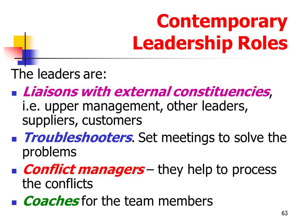 64 Contemporary Leadership Roles Mentoring Mentor is a senior employee who sponsors and supports a less experienced employee