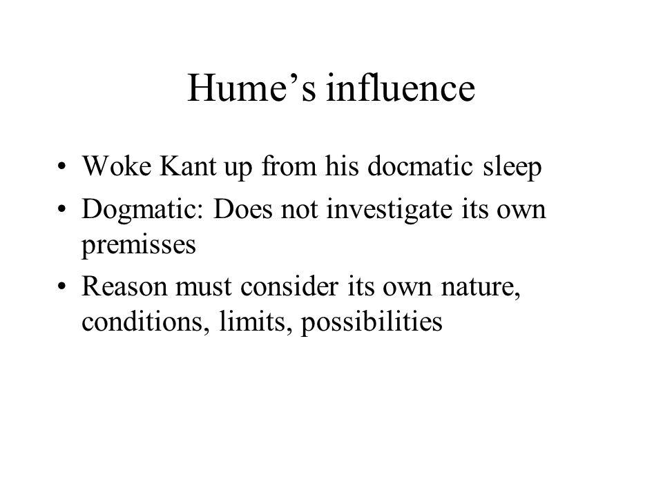 Conditions of experience Hume: Causality derived from experience Kant: Causality a condition of experience –Transcendental (beyond experience) –Logically prior to experience –Makes experience possible (condition of possibility)