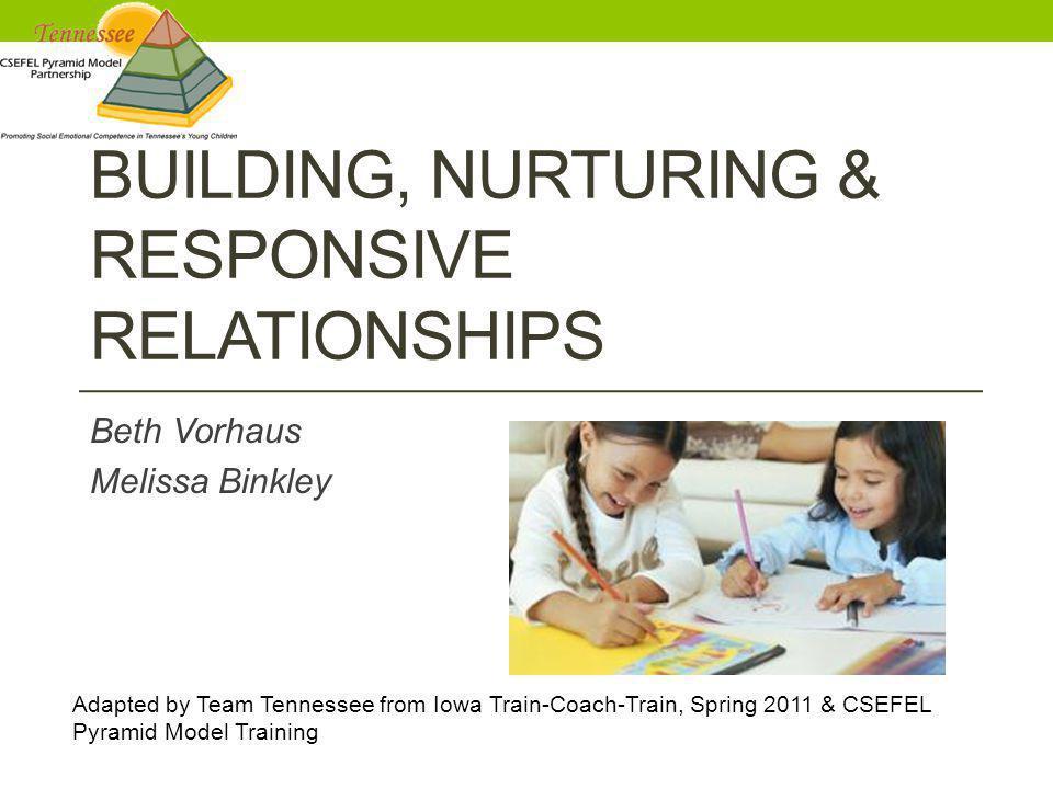 BUILDING, NURTURING & RESPONSIVE RELATIONSHIPS Beth Vorhaus Melissa Binkley Adapted by Team Tennessee from Iowa Train-Coach-Train, Spring 2011 & CSEFE