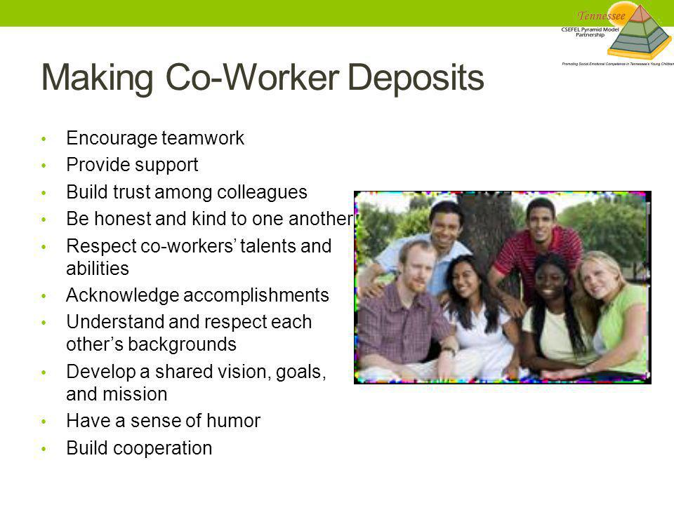 Making Co-Worker Deposits Encourage teamwork Provide support Build trust among colleagues Be honest and kind to one another Respect co-workers' talent
