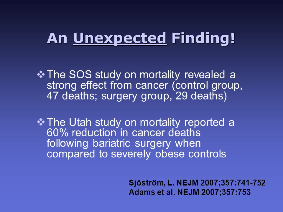 An Unexpected Finding! Sjöström, L. NEJM 2007;357:741-752 Adams et al. NEJM 2007;357:753 vThe SOS study on mortality revealed a strong effect from can