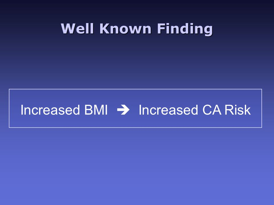 Well Known Finding Increased BMI  Increased CA Risk