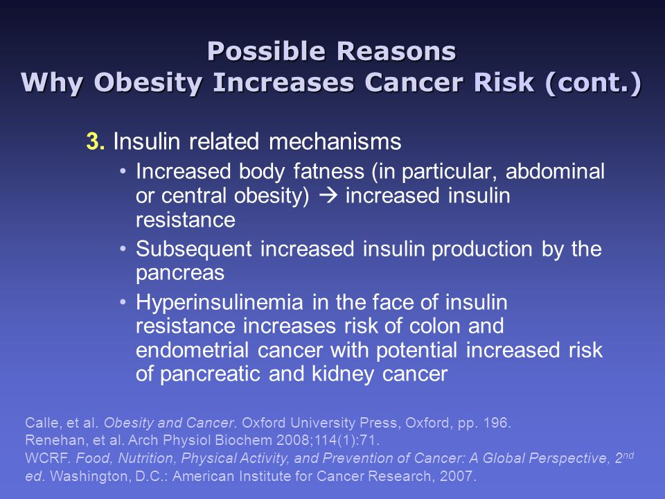 Possible Reasons Why Obesity Increases Cancer Risk (cont.) 3.