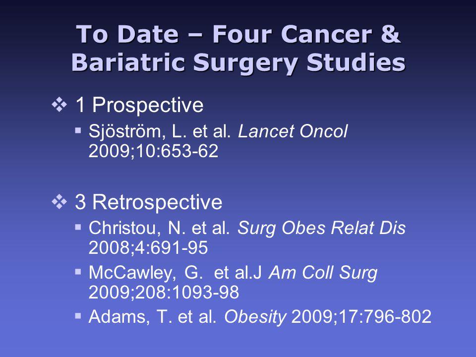 To Date – Four Cancer & Bariatric Surgery Studies v 1 Prospective  Sjöström, L. et al. Lancet Oncol 2009;10:653-62 v 3 Retrospective  Christou, N. e