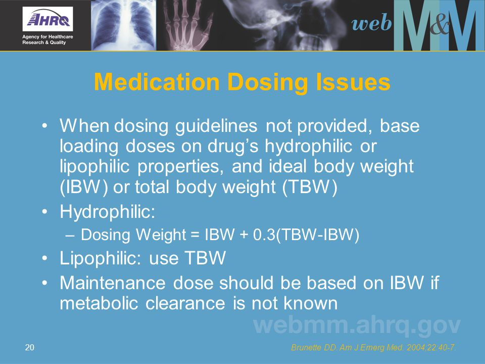 20 Medication Dosing Issues When dosing guidelines not provided, base loading doses on drug's hydrophilic or lipophilic properties, and ideal body wei