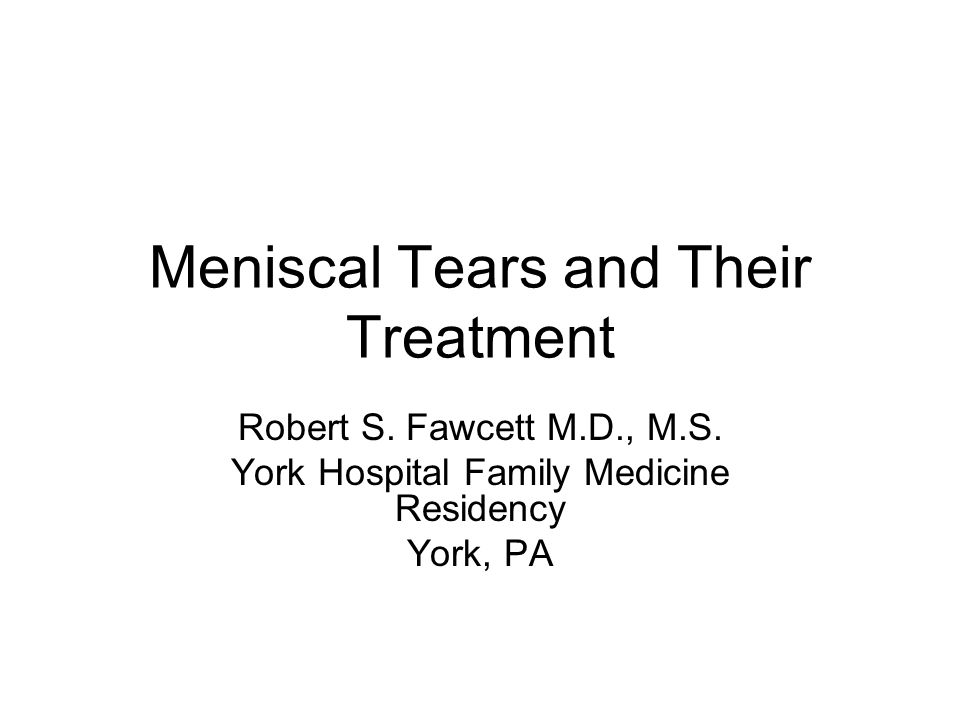 Objectives Discuss important points in history, physical and testing that lead to a diagnosis of damaged meniscus Understand the short and long term outcomes of meniscectomy Discuss the benefits and implications of surgical vs.