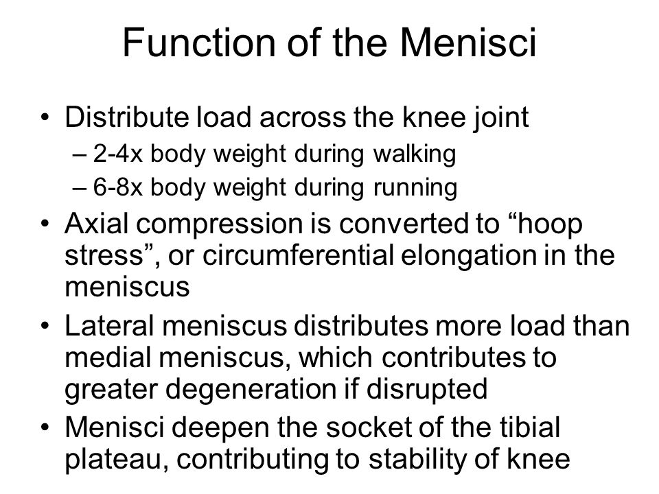 Wedge shape limits translation of femur on tibial plateau Menisci forced posteriorly in flexion, anteriorly in extension of the knee Menisci reduce stresses on the ACL Menisci force synovial fluid into articular cartilage (helping to nourish the white zone) during compression.
