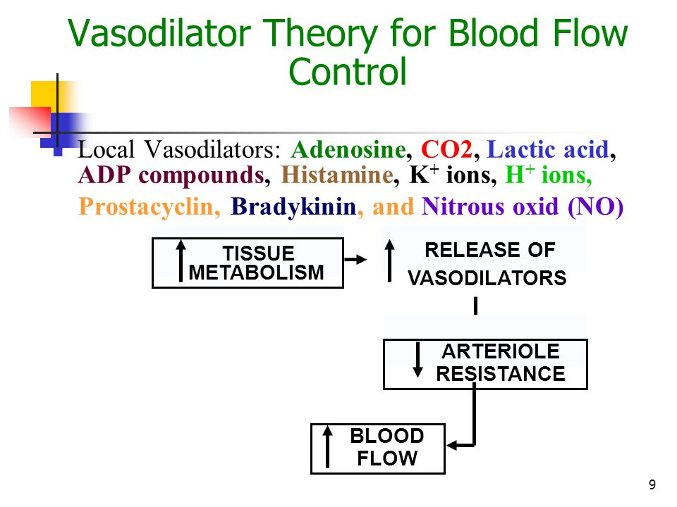 9 Vasodilator Theory for Blood Flow Control Local Vasodilators: Adenosine, CO2, Lactic acid, ADP compounds, Histamine, K + ions, H + ions, Prostacycli
