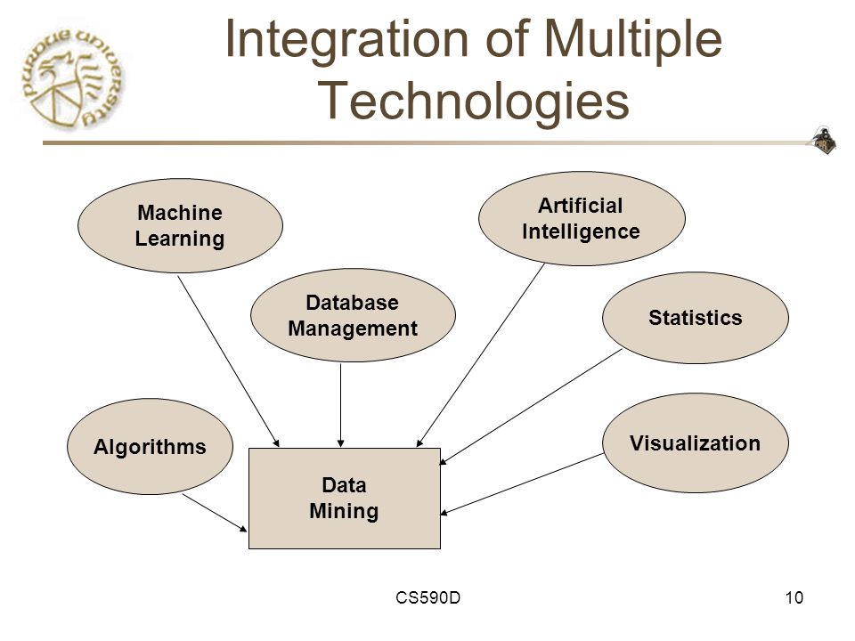 CS590D10 Integration of Multiple Technologies Machine Learning Database Management Artificial Intelligence Statistics Data Mining Visualization Algorithms