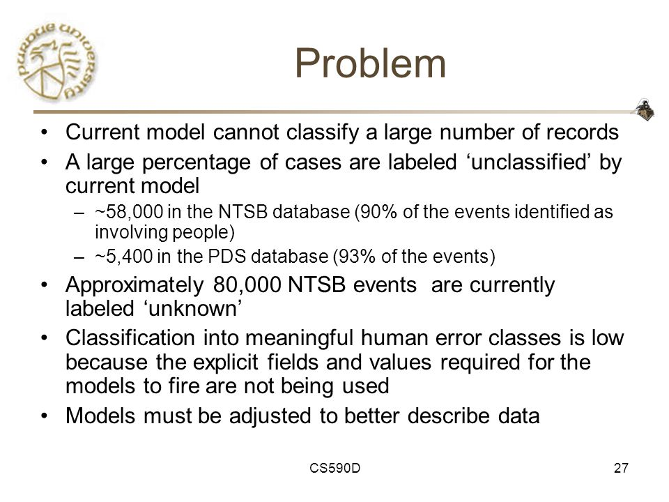 CS590D27 Problem Current model cannot classify a large number of records A large percentage of cases are labeled 'unclassified' by current model –~58,000 in the NTSB database (90% of the events identified as involving people) –~5,400 in the PDS database (93% of the events) Approximately 80,000 NTSB events are currently labeled 'unknown' Classification into meaningful human error classes is low because the explicit fields and values required for the models to fire are not being used Models must be adjusted to better describe data
