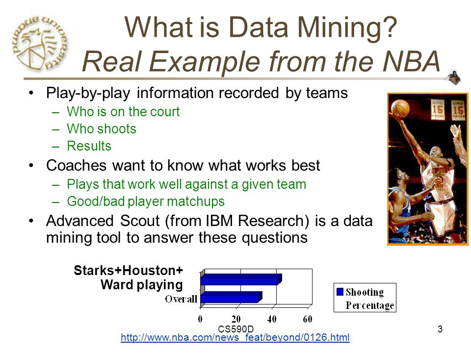 CS590D64 Data Mining and Visualization Approaches –Visualization to display results of data mining Help analyst to better understand the results of the data mining tool –Visualization to aid the data mining process Interactive control over the data exploration process Interactive steering of analytic approaches ( grand tour ) Interactive data mining issues –Relationships between the analyst, the data mining tool and the visualization tool Data Mining Tool Visualized result Analyst