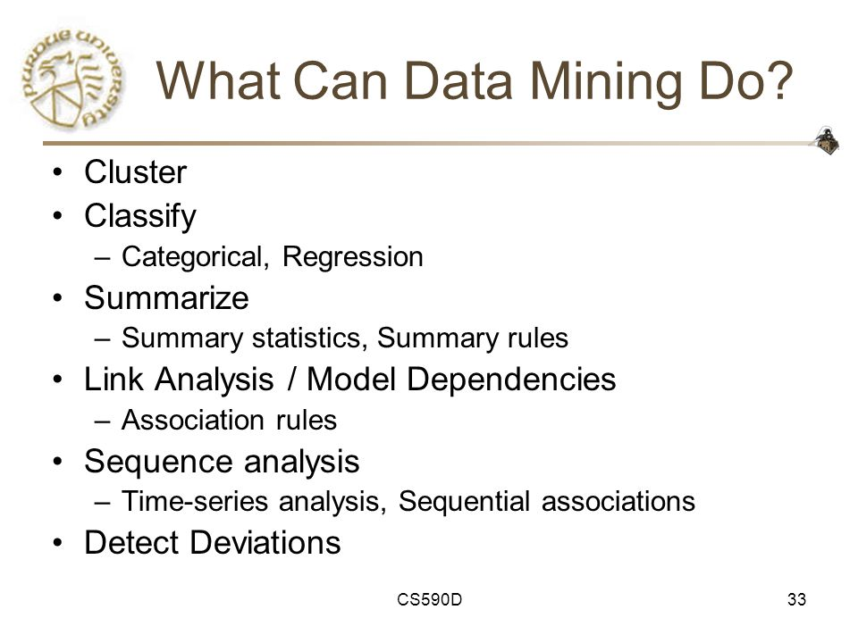 CS590D33 What Can Data Mining Do.