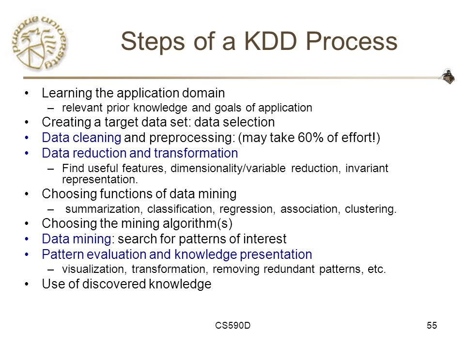 CS590D55 Steps of a KDD Process Learning the application domain –relevant prior knowledge and goals of application Creating a target data set: data selection Data cleaning and preprocessing: (may take 60% of effort!) Data reduction and transformation –Find useful features, dimensionality/variable reduction, invariant representation.