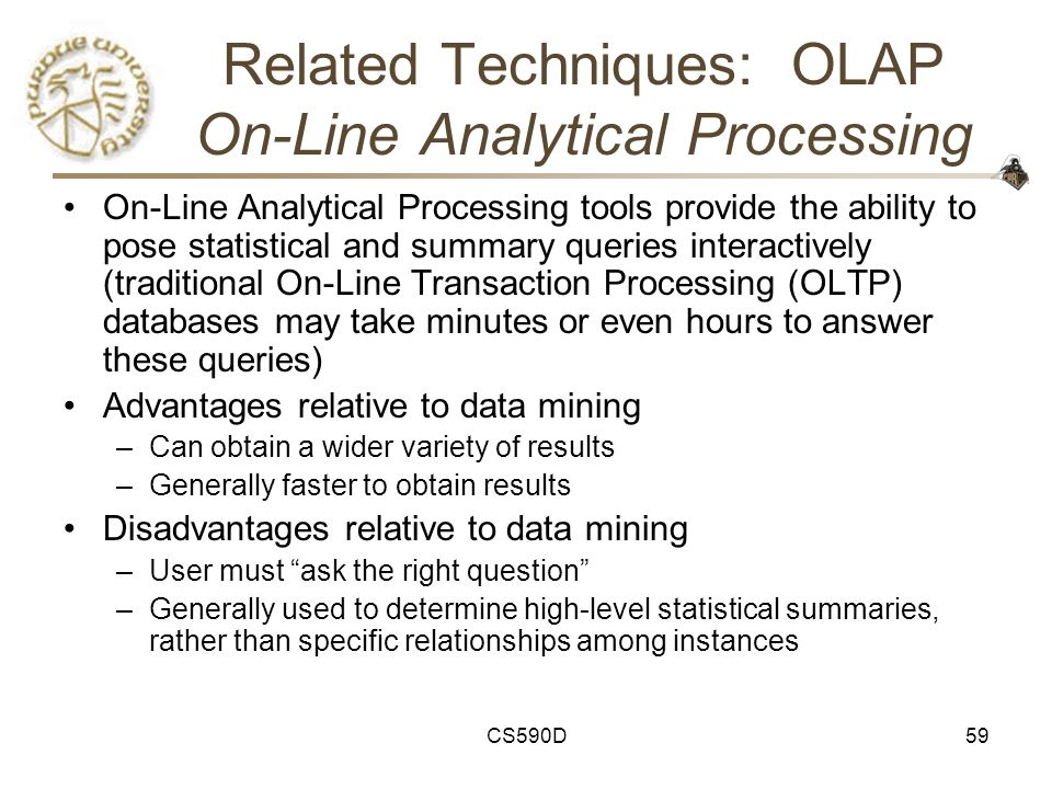 CS590D59 Related Techniques: OLAP On-Line Analytical Processing On-Line Analytical Processing tools provide the ability to pose statistical and summary queries interactively (traditional On-Line Transaction Processing (OLTP) databases may take minutes or even hours to answer these queries) Advantages relative to data mining –Can obtain a wider variety of results –Generally faster to obtain results Disadvantages relative to data mining –User must ask the right question –Generally used to determine high-level statistical summaries, rather than specific relationships among instances