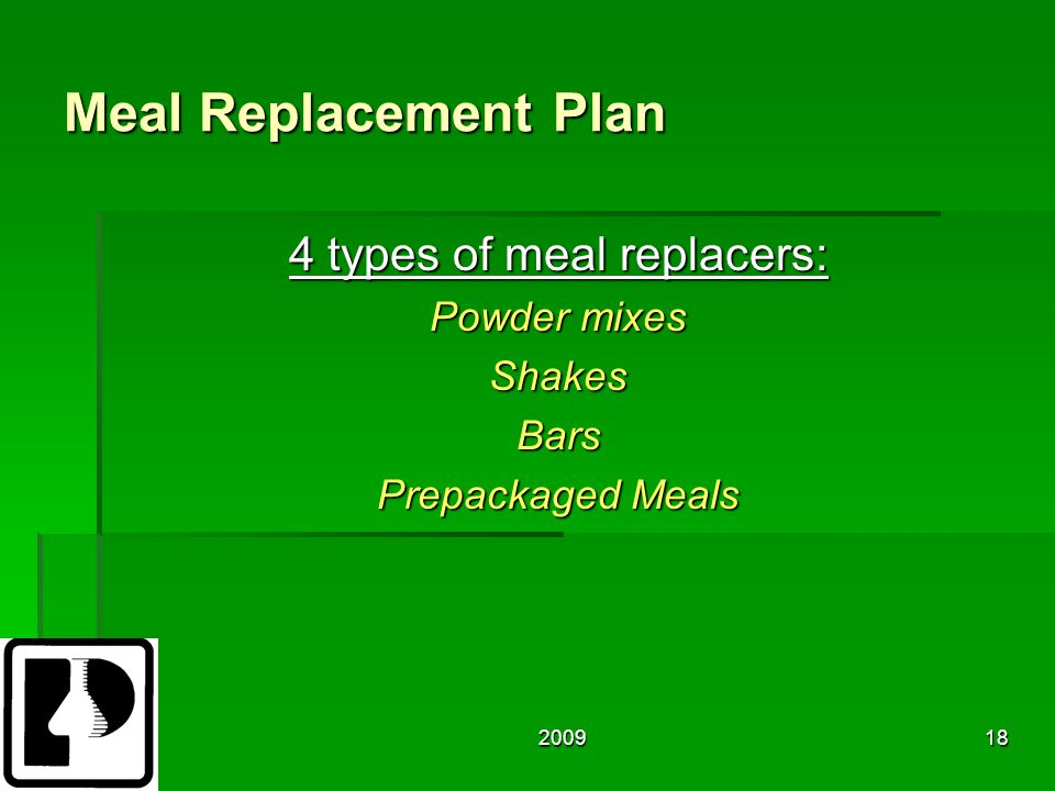 200918 Meal Replacement Plan 4 types of meal replacers: Powder mixes ShakesBars Prepackaged Meals