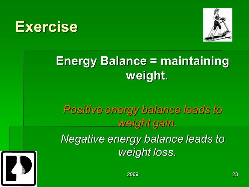 200923 Exercise Energy Balance = maintaining weight.