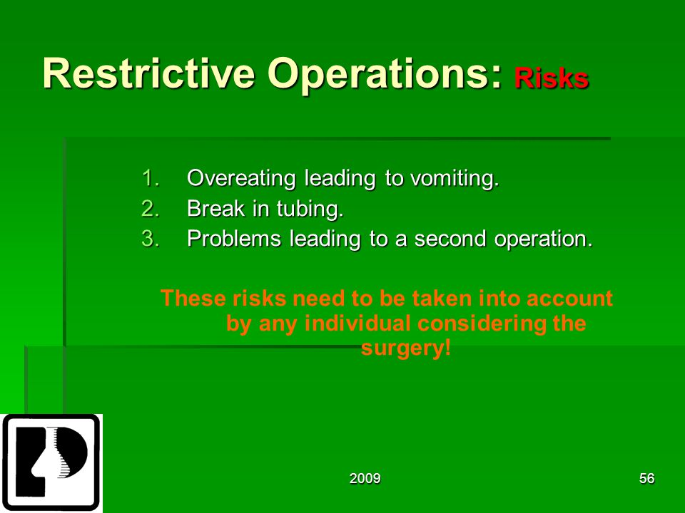 200956 Restrictive Operations: Risks 1.Overeating leading to vomiting.