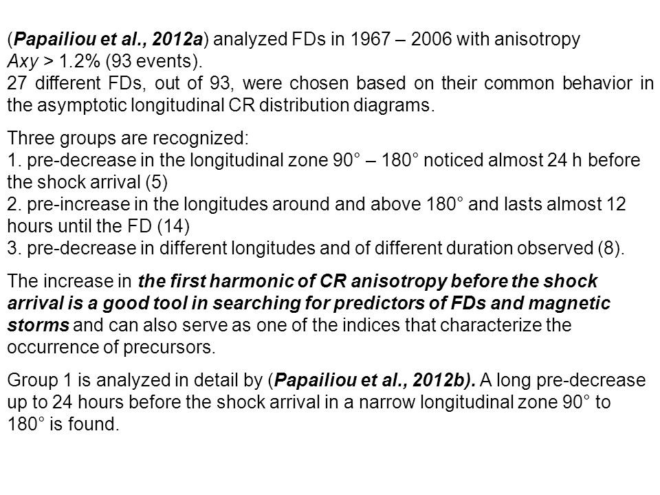 (Papailiou et al., 2012a) analyzed FDs in 1967 – 2006 with anisotropy Axy > 1.2% (93 events). 27 different FDs, out of 93, were chosen based on their