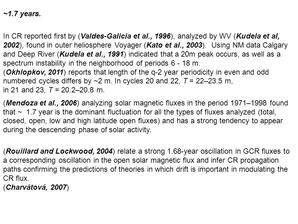 ~1.7 years. In CR reported first by (Valdes-Galicia et al., 1996), analyzed by WV (Kudela et al, 2002), found in outer heliosphere Voyager (Kato et al