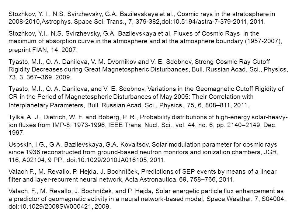 Stozhkov, Y. I., N.S. Svirzhevsky, G.A.