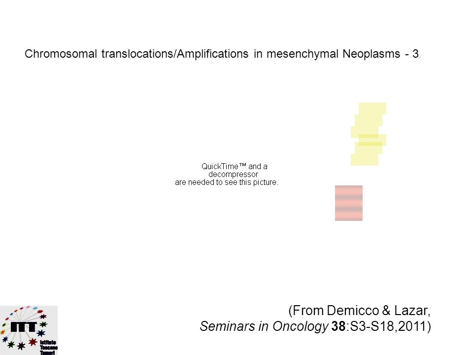 (From Demicco & Lazar, Seminars in Oncology 38:S3-S18,2011) Chromosomal translocations/Amplifications in mesenchymal Neoplasms - 2