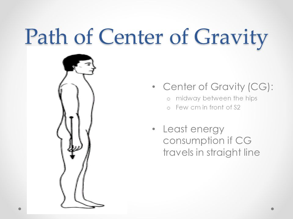 Path of Center of Gravity Center of Gravity (CG): o midway between the hips o Few cm in front of S2 Least energy consumption if CG travels in straight