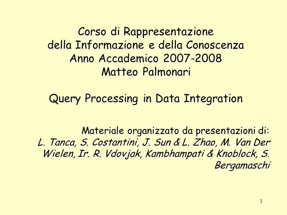 1 Corso di Rappresentazione della Informazione e della Conoscenza Anno Accademico 2007-2008 Matteo Palmonari Query Processing in Data Integration Materiale organizzato da presentazioni di: L.