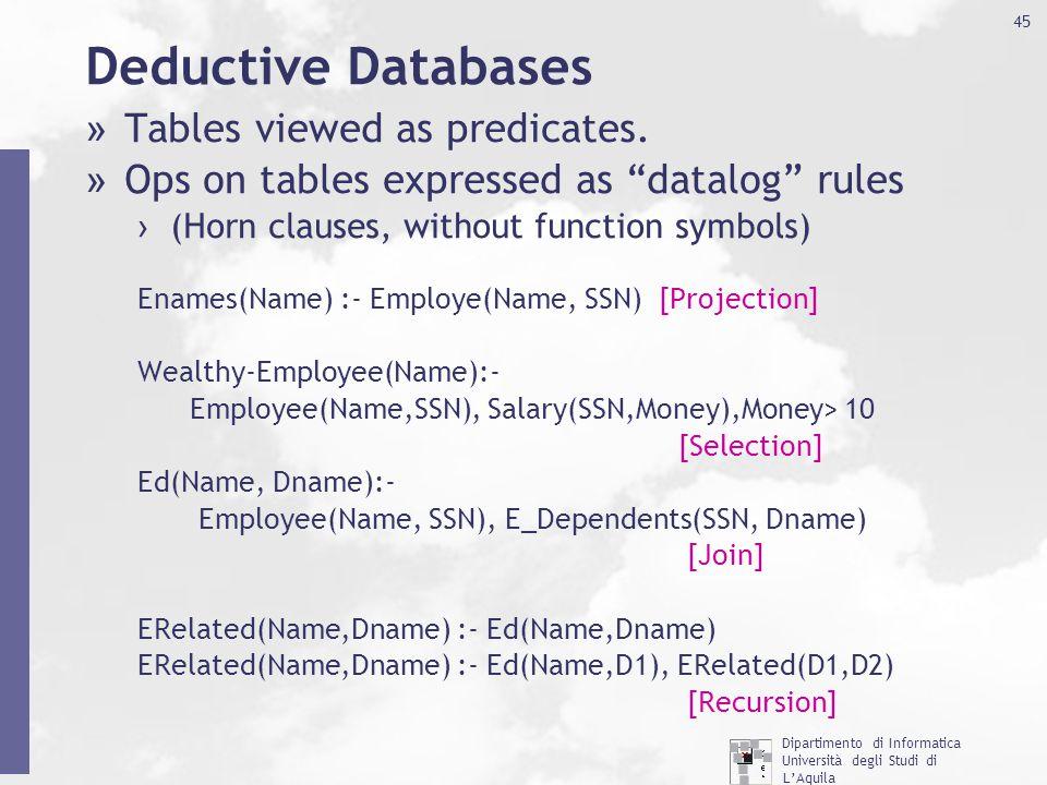 Dipartimento di Informatica Università degli Studi di L'Aquila http://www.di.univaq.it/ 45 Deductive Databases » Tables viewed as predicates. » Ops on