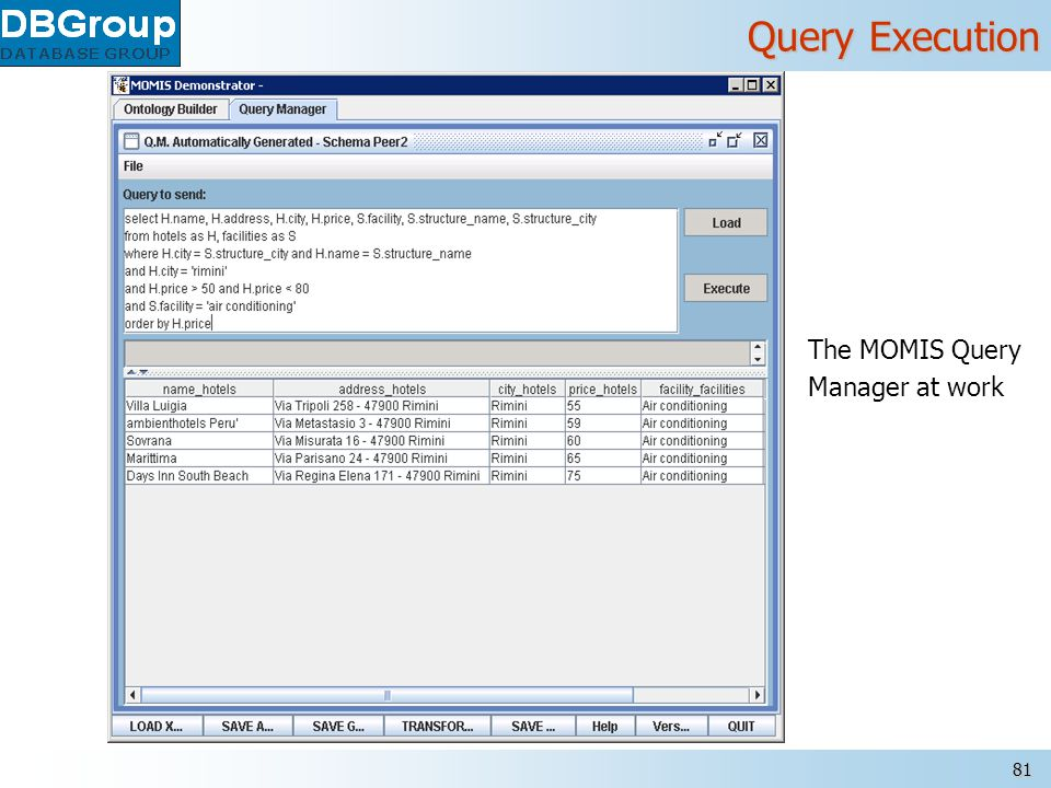 MOMIS – www.dbgroup.unimo.it 81 Query Execution The MOMIS Query Manager at work