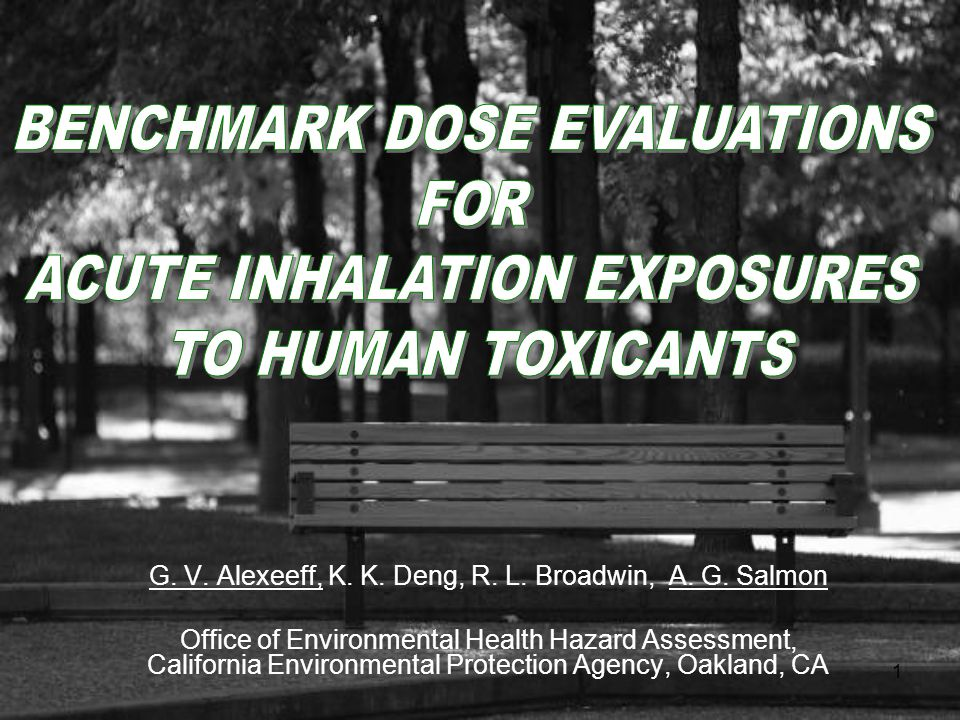 2 Purpose To evaluate the application of the USEPA benchmark dose (BMD) methodology to acute inhalation exposure risk assessment using human data.