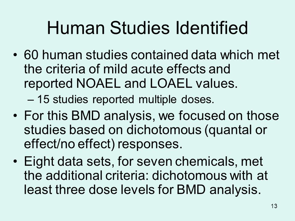 13 Human Studies Identified 60 human studies contained data which met the criteria of mild acute effects and reported NOAEL and LOAEL values.