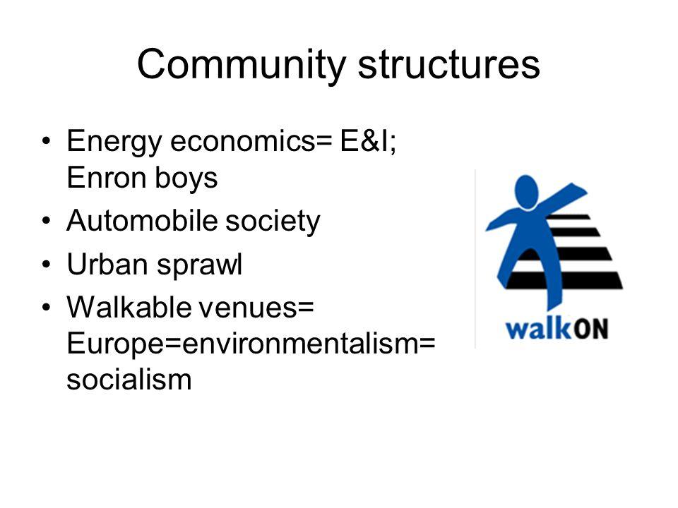 Community structures Energy economics= E&I; Enron boys Automobile society Urban sprawl Walkable venues= Europe=environmentalism= socialism