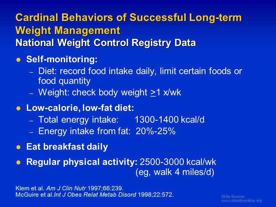 Slide Source: www.obesityonline.org Cardinal Behaviors of Successful Long-term Weight Management National Weight Control Registry Data Self-monitoring