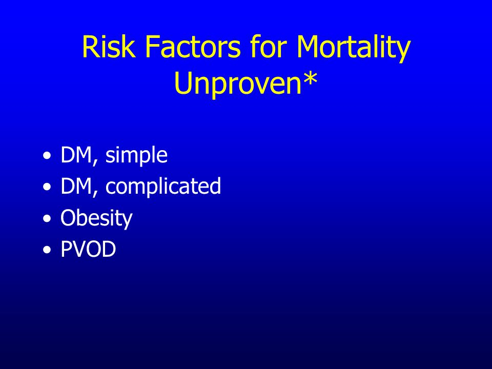 Risk Factors for Mortality Unproven* DM, simple DM, complicated Obesity PVOD